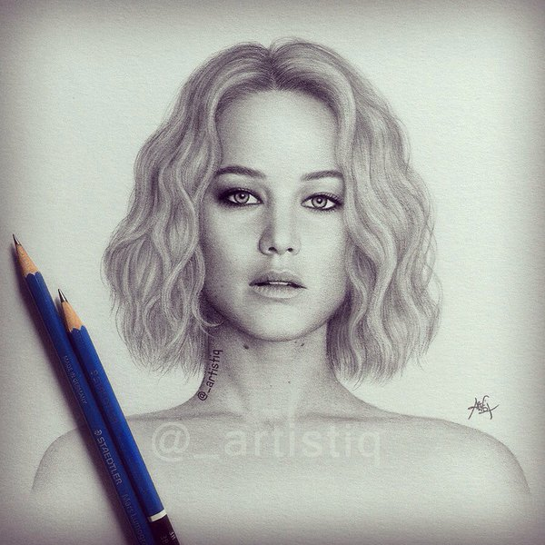 600x600 Artistiq On Twitter Jennifer Lawrence, Drawn With Graphite