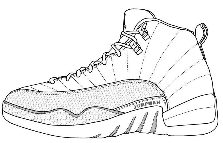 784x502 Collection Of Jordan 12 Drawing Step By Step High Quality