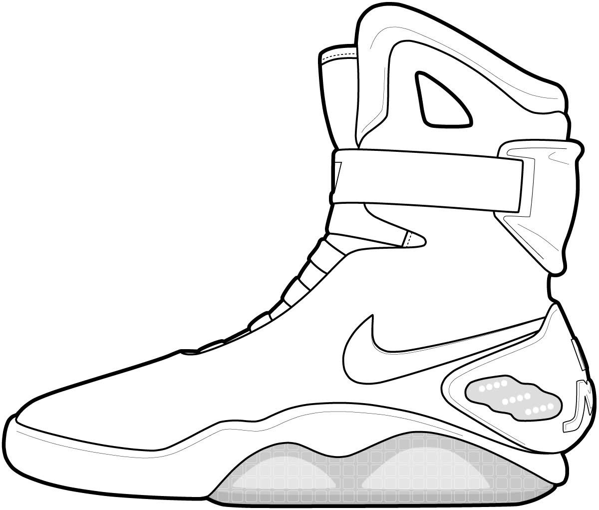 1200x1021 Nike Air Mag Drawing 19 Force 1 Coloring Pages