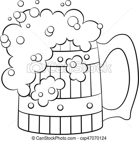 450x456 Beer Mug, Isolated. Big Beer Mug With Alcohol Drink And Foam