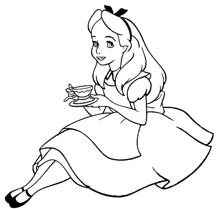 Alice In Wonderland Line Drawing