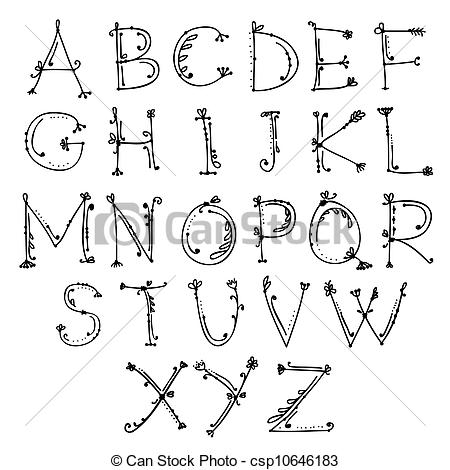 Alphabet Line Drawing