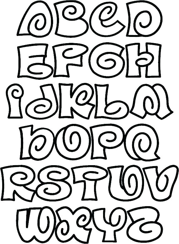 573x780 Bubble Letters Coloring Pages Fun Spiral Font A From Color