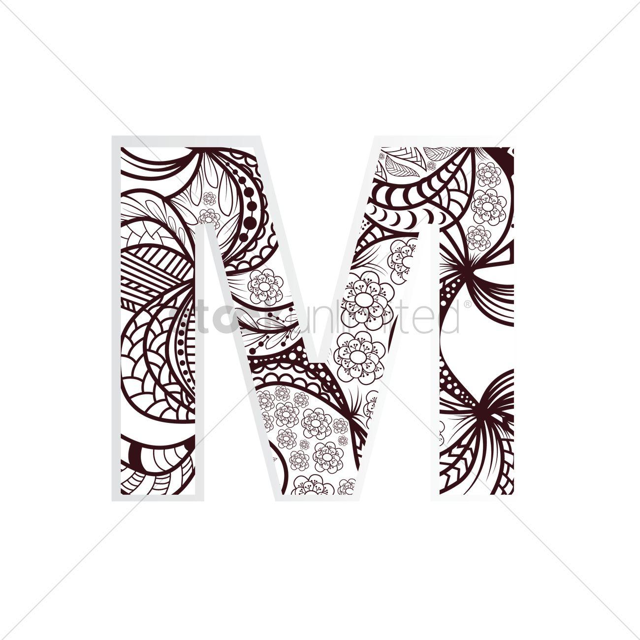 1300x1300 Decorative Alphabet M Vector Image