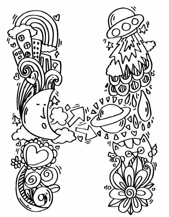 561x720 Alphabet H Doodle Art