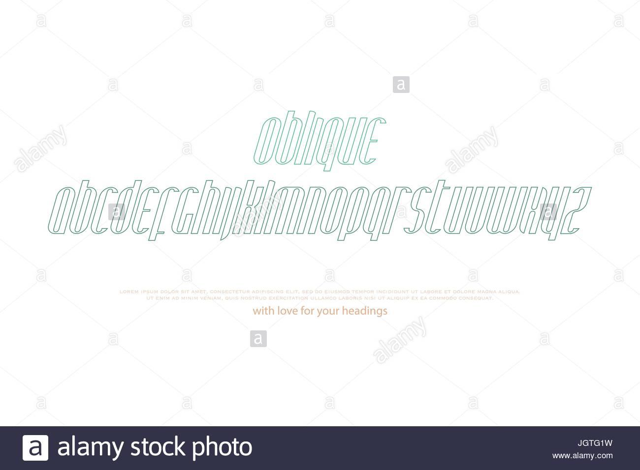 1300x956 Italic, Stylized Alphabet Letters. Vector, Linear, Slanted Font