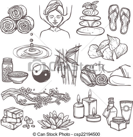 450x464 Spa Sketch Icons. Spa Therapy Beauty Health Care Alternative