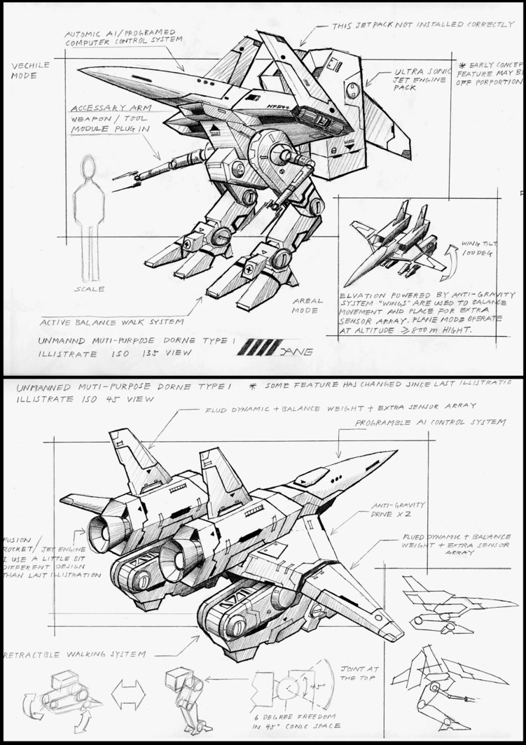 751x1064 Unmanned Drone Type1 Drawing By 4 X S