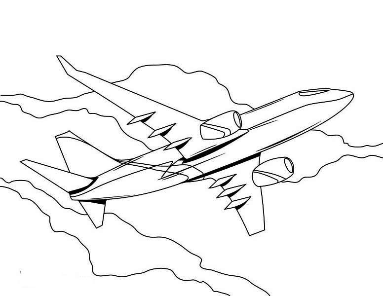 776x600 High Altitude Jumbo Jet Airline Plane Coloring Page