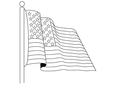 American Flag Drawing Black And White