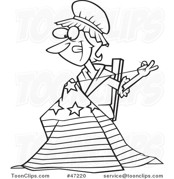 581x600 Black And White Cartoon Betsy Ross Sewing The First American Flag