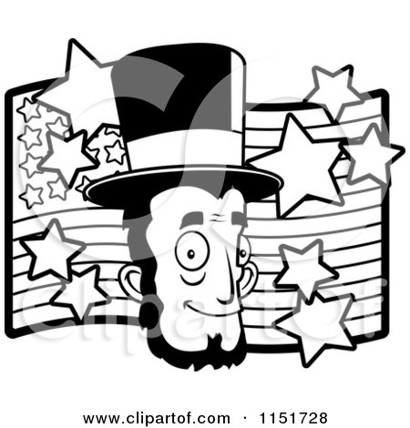 450x470 Cartoon Clipart Of A Blackd White Abe Lincoln's Face Over