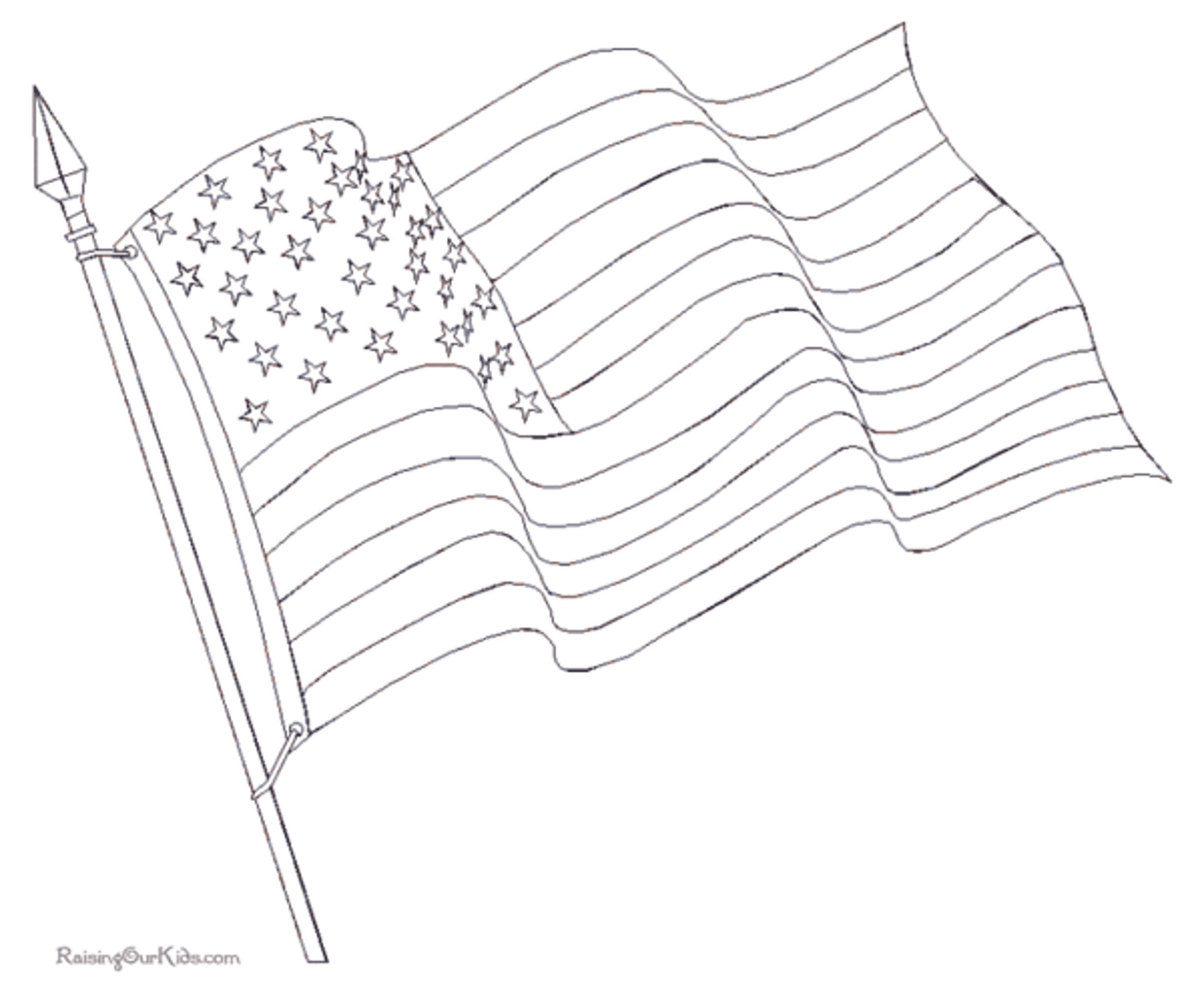 2449x2000 American Flag Coloring Page For The Love Of The Country