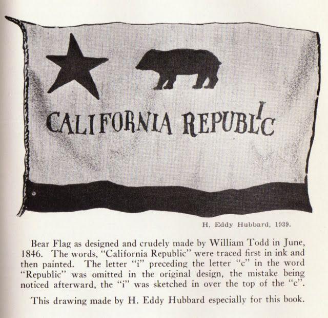 640x619 H. Eddy Hubbard 1939 Black Amp White, California Bear Flag Drawing