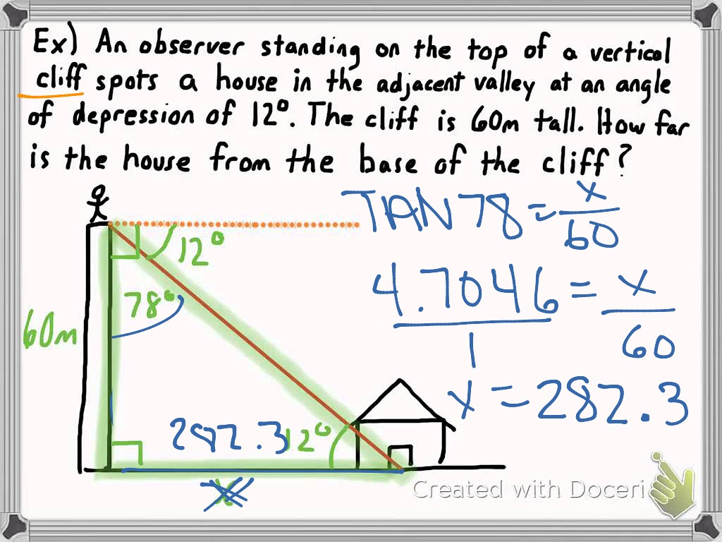 Angle Of Elevation And Depression Problems With Solutions And