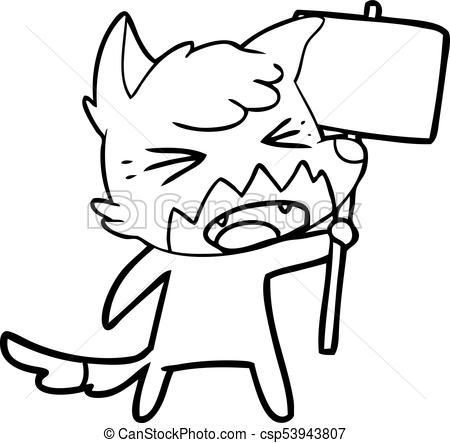 450x443 Angry Cartoon Fox With Sign