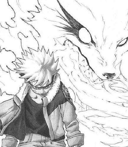 434x500 Collection Of Naruto Angry Fox Drawing High Quality, Free