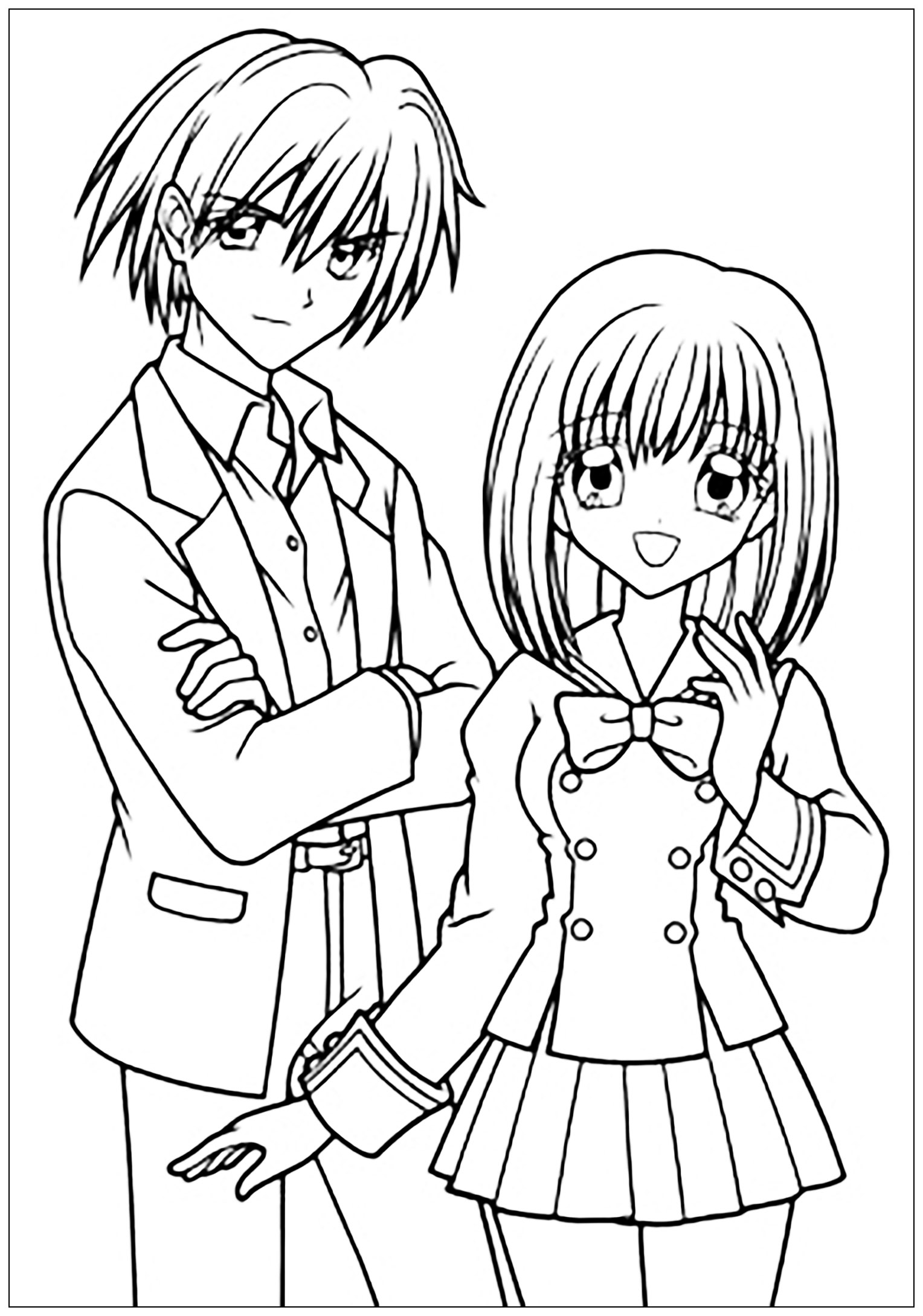 1528x2179 Manga Drawing Boy And Girl In School Suit