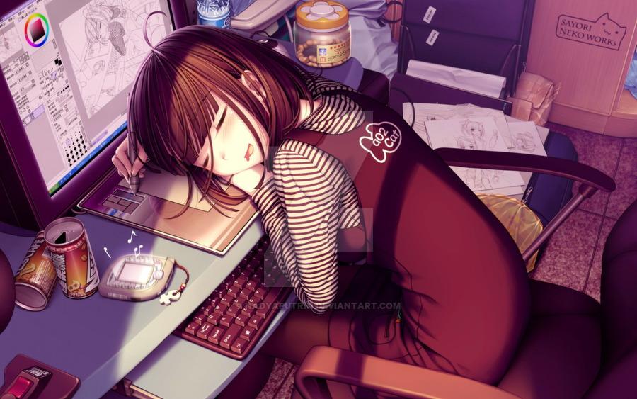 900x563 Cute Anime Girl By Nadyaputrin