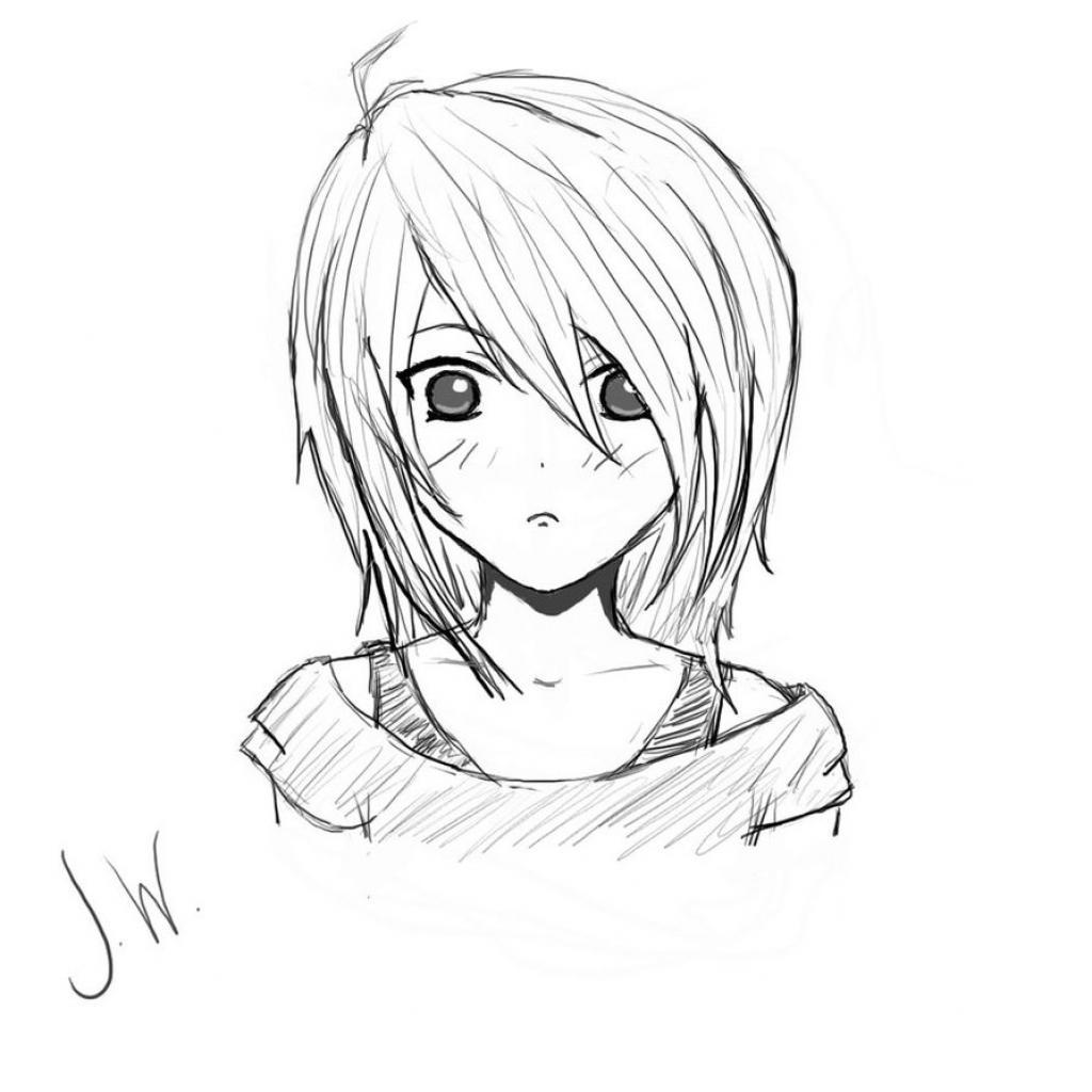 1024x1024 Anime Girl Face Sketch