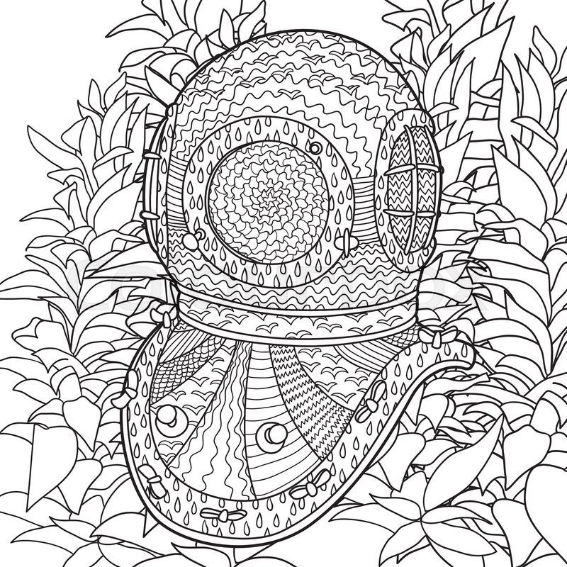 800x800 Hand Drawn Antique Divers Helmet And Algae. Coloring Pages