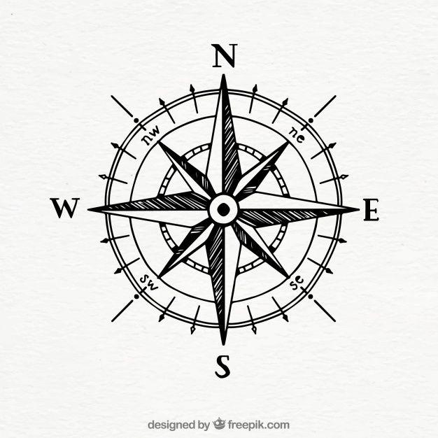 626x626 Hand Drawn Vintage Compass Free Vector Tshirt Ideas