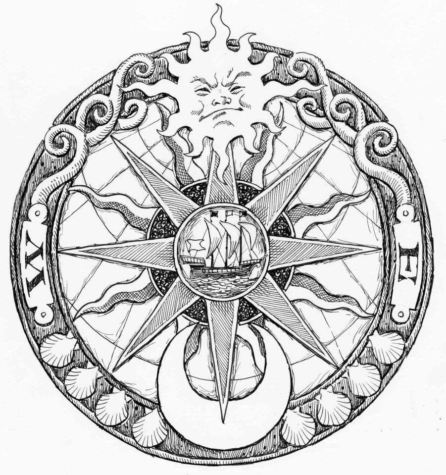 901x959 Nautical Compass Drawing