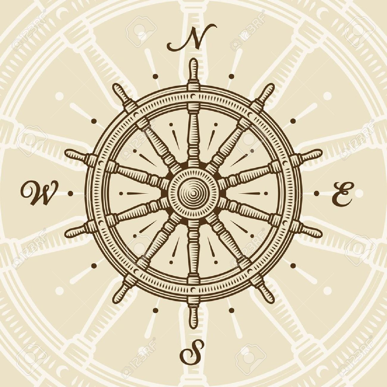1300x1300 Collection Of Antique Nautical Compass Drawing High Quality