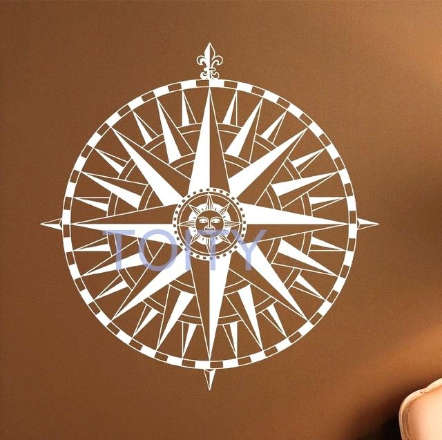 640x637 Excellent Nautical Compass Compass Rose Wall Vinyl Sticker