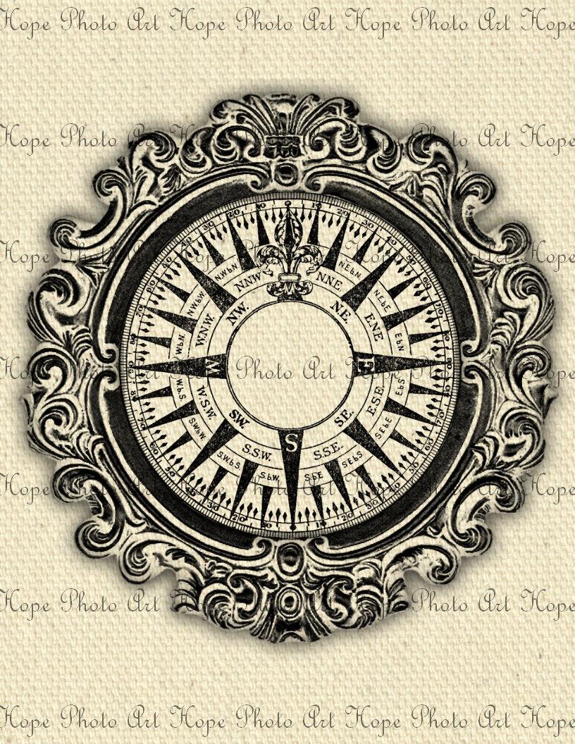 816x1056 Nautical Vintage Compass Digital Collage Sheet Image Transfer