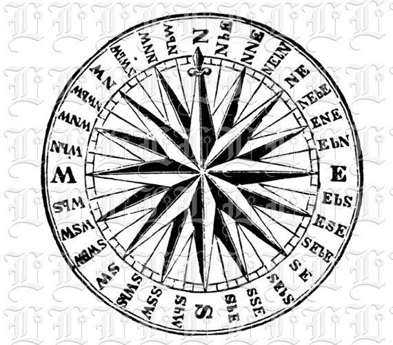 570x500 32 Points Rose Compass Navy Vintage Clip Art Illustrations Digital