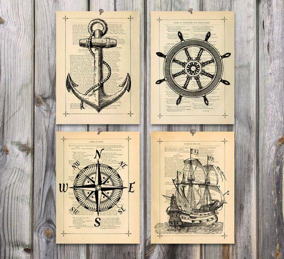 570x519 Nautical Art Poster Print Set Antique Drawing Illustration 125yr