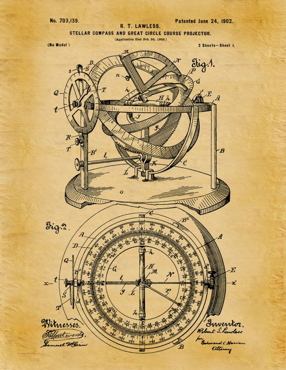 570x738 Patent 1902 Stellar Compass Nautical Art Print