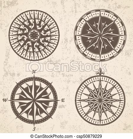 450x470 Set Of Vintage Antique Wind Rose Nautical Compass Signs Vector