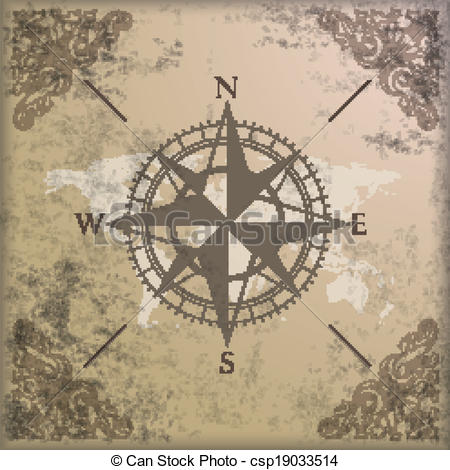 450x470 Vintage Background Edge Ornaments Compass World Map. Vintage