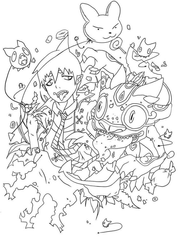 736x1003 Blue Exorcist Coloring Pages 38 Best Coloriage Blue Exorcist