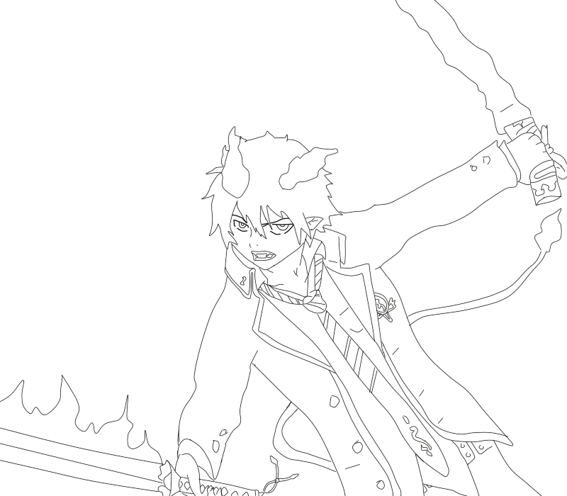 800x700 Blue Exorcist Coloring Pages Ao No Exorcist Rin Okumura Lineart