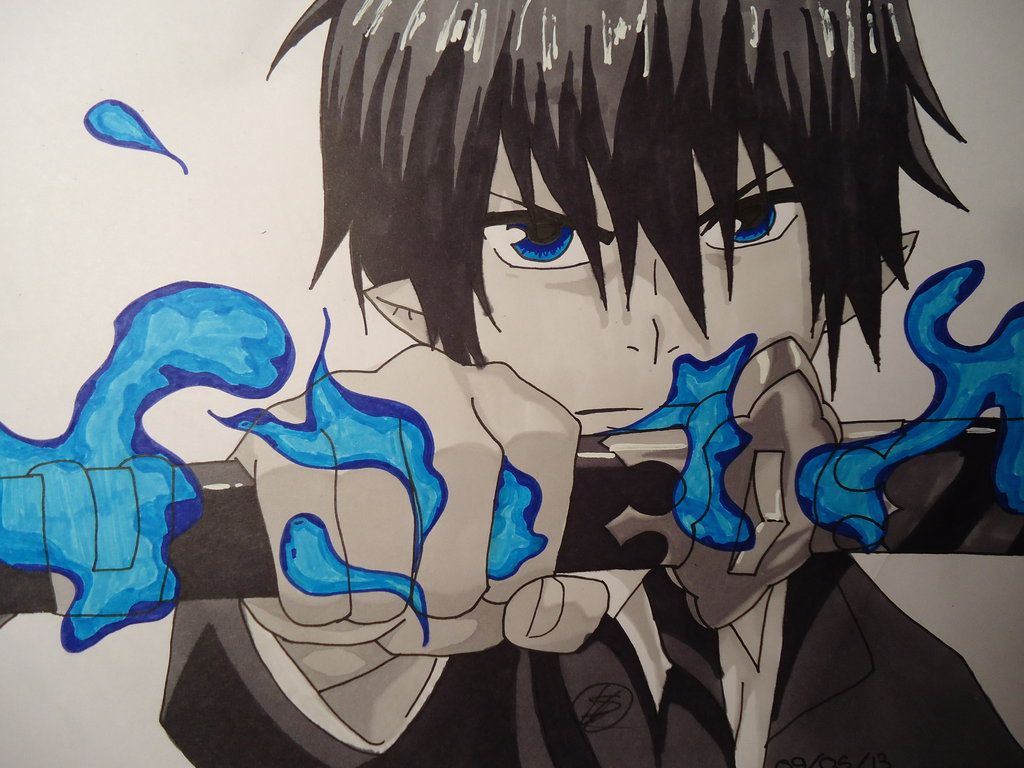 1024x768 Rin Okumura Ao No Exorcist By Draw Of Nalu