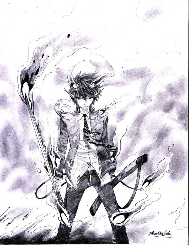 610x792 Anime, Ao No Exorcist, Blue Flames, Cool, Drawing