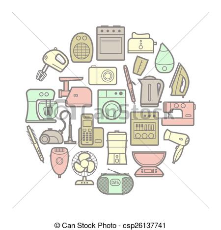 450x470 Circle Set Of Home Appliances Icons. Circle Set Of Vector Eps