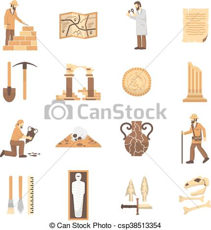 430x470 Archeology Icons Set. Set Of Color Flat Icons Depicting Clipart