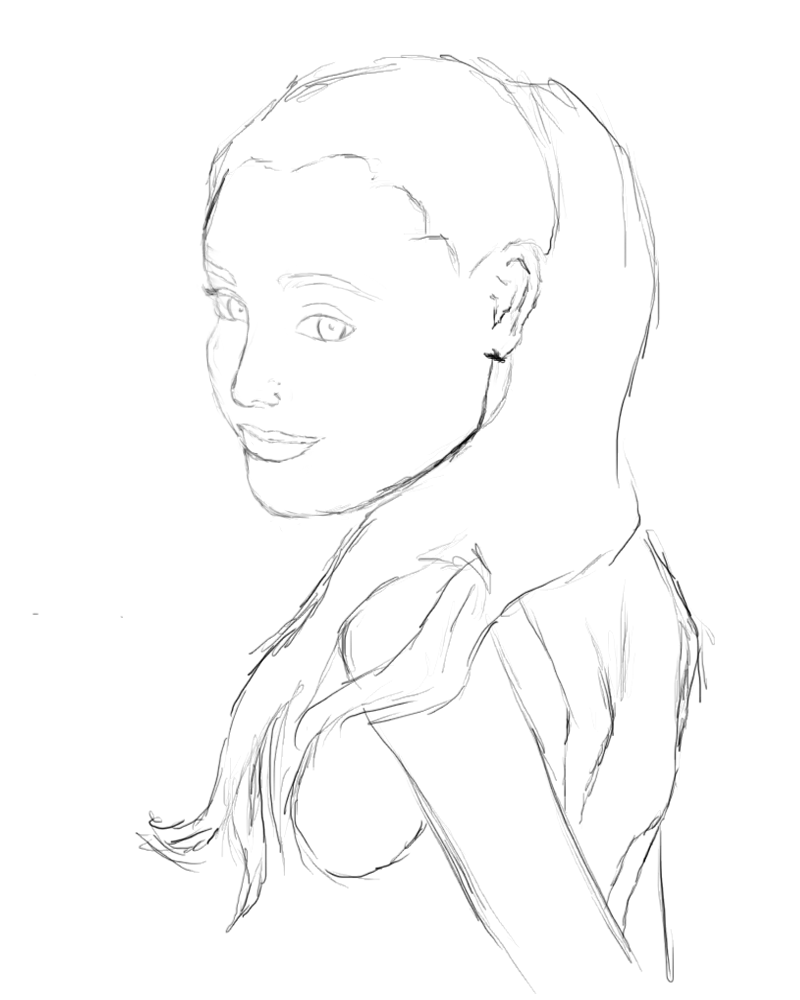 Ariana Grande Drawing Outline