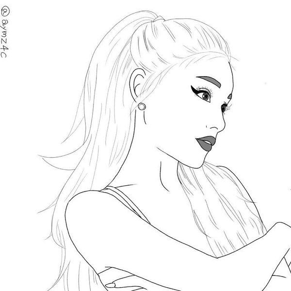 600x600 Ariana Grande Outline Outline Drawing Outlines