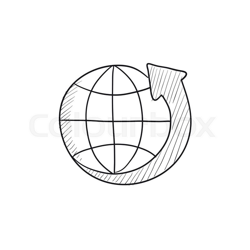 800x800 Earth And Arrow Around Vector Sketch Icon Isolated On Background