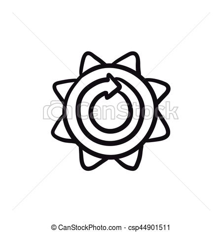 450x470 Sun With Round Arrow Sketch Icon. Sun With Round Arrow Vector