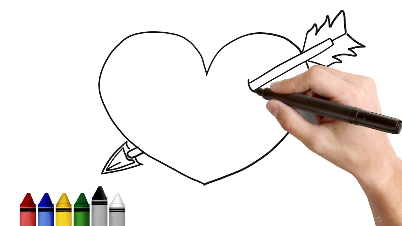 1280x720 How To Draw Heart With An Arrow Drawing For Kids Tutorial