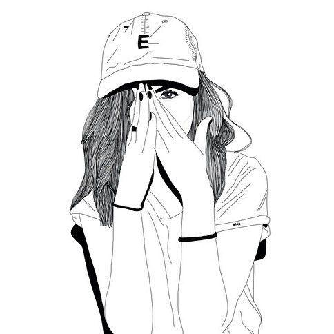 484x484 Art, Outline, Fille Noir Et Blanc, Fille Tumblr, Casquette,