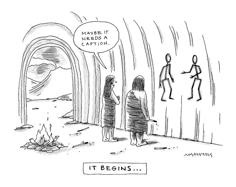 900x714 Two Cave People Ask Whether A Cave Drawing Needs By Mick Stevens