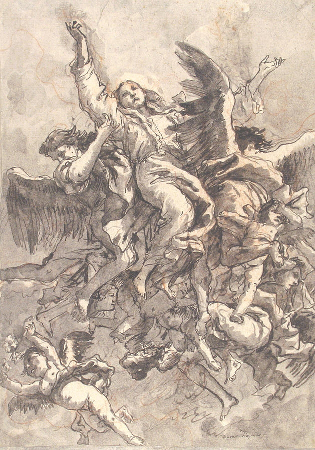 629x900 The Assumption Of The Virgin Drawing By Giovanni Domenico Tiepolo