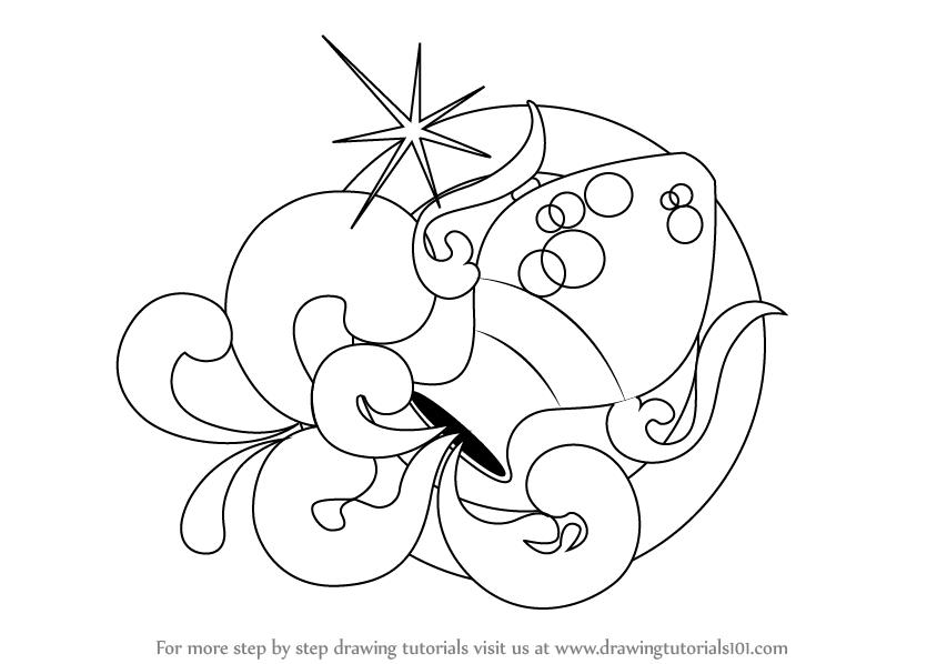 844x598 Learn How To Draw Aquarius Zodiac Sign (Zodiac Signs) Step By Step